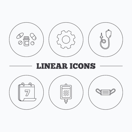 protection gear: Medical mask, blood and pills icons. Enema linear sign. Flat cogwheel and calendar symbols. Linear icons in circle buttons. Vector