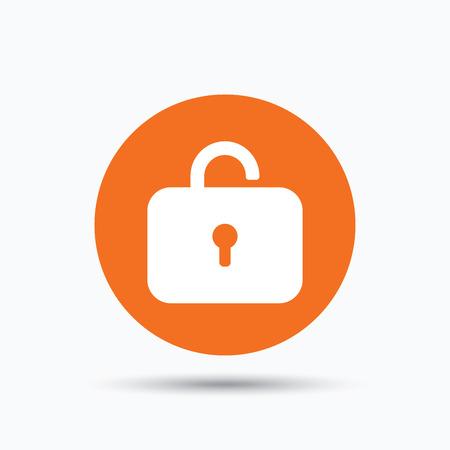 private access: Lock icon. Privacy locker sign. Private access symbol. Orange circle button with flat web icon. Vector Illustration