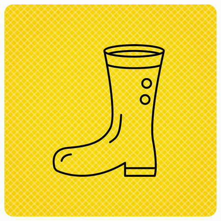 wellies: Boots icon. Garden rubber shoes sign. Waterproof wear symbol. Linear icon on orange background. Vector