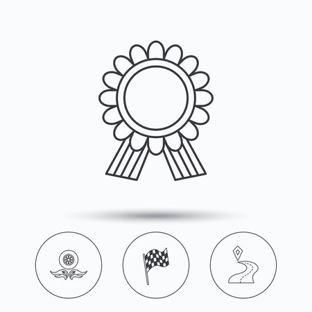 race winner: Winner award medal, destination and flag icons. Race flag, wheel on fire linear signs. Linear icons in circle buttons. Flat web symbols. Vector