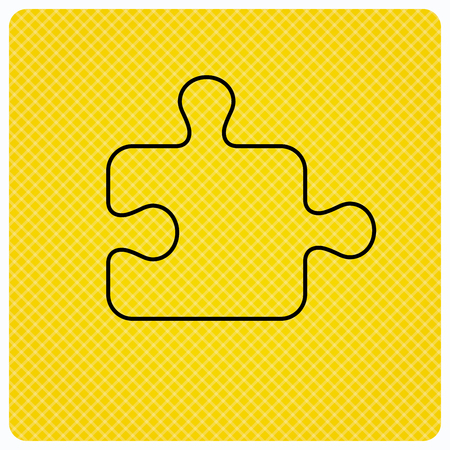 sequences: Puzzle icon. Jigsaw logical game sign. Boardgame piece symbol. Linear icon on orange background. Vector