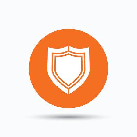 Shield protection icon. Defense equipment symbol. Orange circle button with flat web icon. Vector Illustration