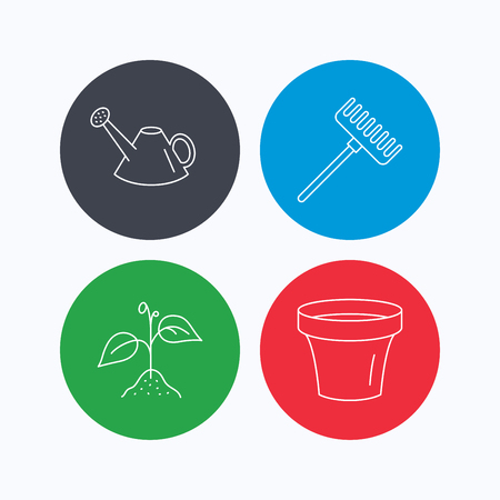 crop circles: Sprout plant, watering can and pot icons. Rake linear sign. Linear icons on colored buttons. Flat web symbols. Vector