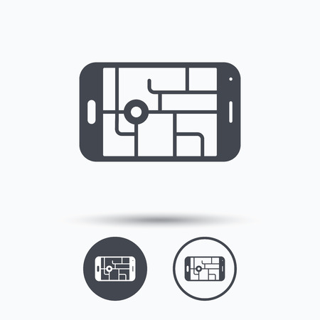 gps device: Gps street navigation icon. Smartphone device symbol. Pokemon egg concept. Circle buttons with flat web icon on white background. Vector
