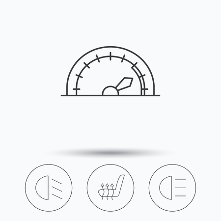 heated: Speedometer, passing fog lights and heated seat icons. High beams linear sign. Linear icons in circle buttons. Flat web symbols. Vector Illustration