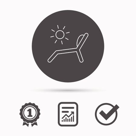 longue: Deck chair icon. Beach chaise longue sign. Report document, winner award and tick. Round circle button with icon. Vector