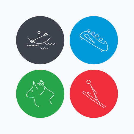 bobsled: Boating, horseback riding and bobsled icons. Ski jumping linear sign. Linear icons on colored buttons. Flat web symbols. Vector Illustration