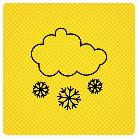 overcast: Snow icon. Snowflakes with cloud sign. Snowy overcast symbol. Linear icon on orange background. Vector Illustration