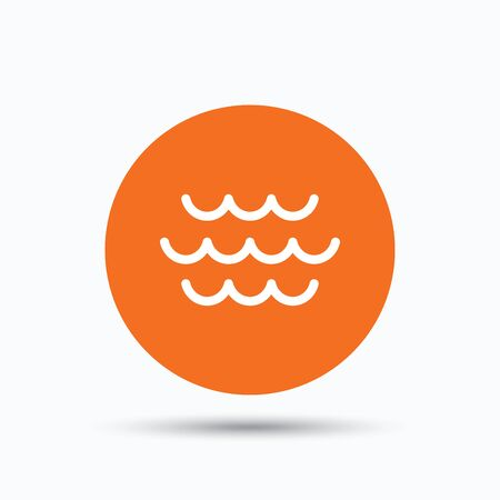 water stream: Wave icon. Water stream symbol. Orange circle button with flat web icon. Vector