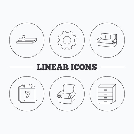 chest wall: Sofa, wall shelf and armchair icons. Chest of drawers linear sign. Flat cogwheel and calendar symbols. Linear icons in circle buttons. Vector Illustration