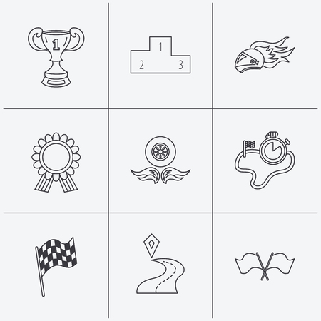 race winner: Winner cup and podium, award medal icons. Race flag, motorcycle helmet and timer linear signs. Destination pointer flat line icons. Linear icons on white background. Vector Illustration