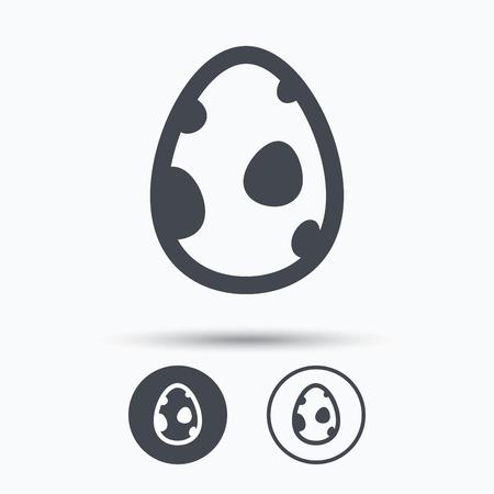 dinosaur egg: Dinosaur egg icon. Birth symbol. Pokemon egg concept. Circle buttons with flat web icon on white background. Vector