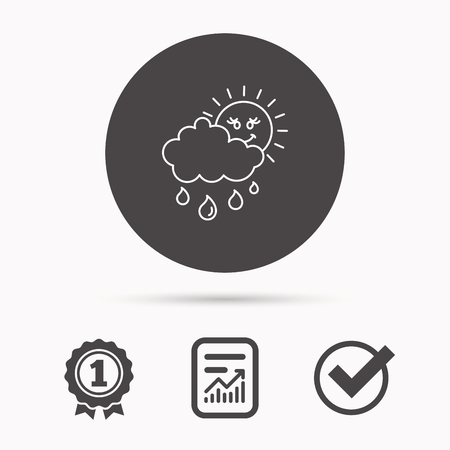overcast: Rain and sun icon. Water drops and cloud sign. Rainy overcast day symbol. Report document, winner award and tick. Round circle button with icon. Vector
