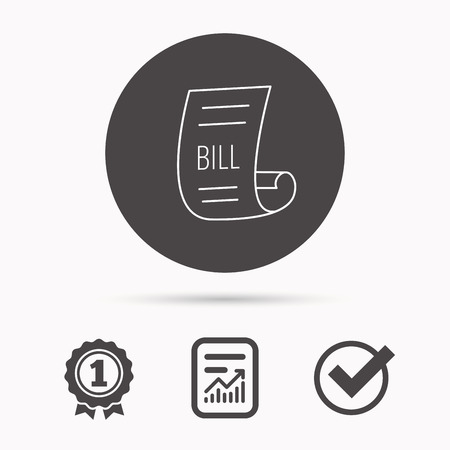 pay bill: Bill icon. Pay document sign. Business invoice or receipt symbol. Report document, winner award and tick. Round circle button with icon. Vector Illustration