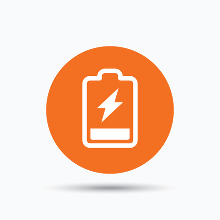 Battery power icon. Charging accumulator symbol. Orange circle button with flat web icon. Vector Illustration