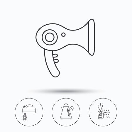 electric dryer: Steam ironing, kettle and blender icons. Hairdryer linear sign. Linear icons in circle buttons. Flat web symbols. Vector