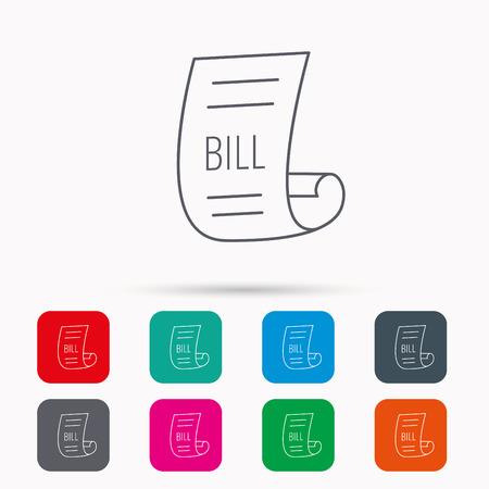 pay bill: Bill icon. Pay document sign. Business invoice or receipt symbol. Linear icons in squares on white background. Flat web symbols. Vector Illustration