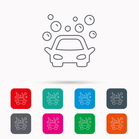 operated: Car wash icon. Cleaning station sign. Foam bubbles symbol. Linear icons in squares on white background. Flat web symbols. Vector