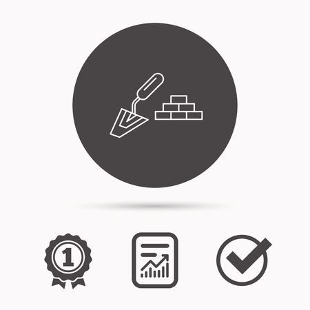 finishing: Finishing icon. Spatula with bricks sign. Report document, winner award and tick. Round circle button with icon. Vector