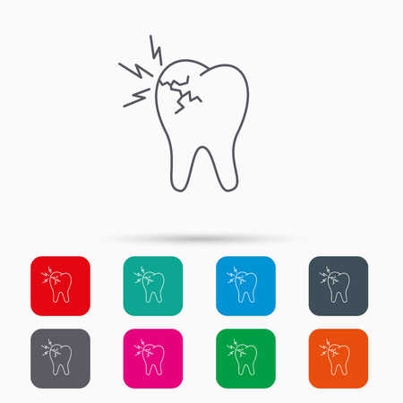 stomatologist: Toothache icon. Dental healthcare sign. Linear icons in squares on white background. Flat web symbols. Vector Illustration
