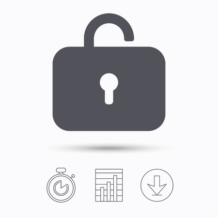 private access: Lock icon. Privacy locker sign. Private access symbol. Stopwatch, chart graph and download arrow. Linear icons on white background. Vector
