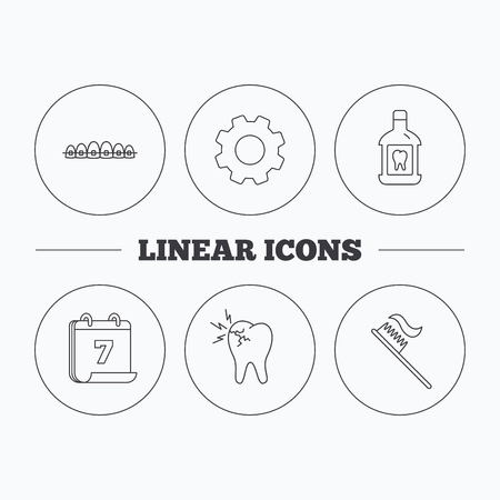 dental braces: Toothache, dental braces and mouthwash icons. Toothbrush linear sign. Flat cogwheel and calendar symbols. Linear icons in circle buttons. Vector Illustration