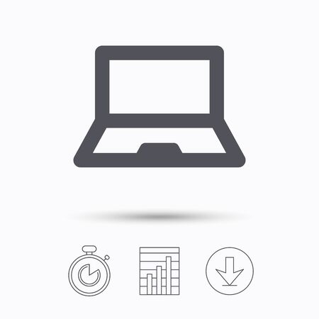ultrabook: Computer icon. Notebook or laptop pc symbol. Stopwatch, chart graph and download arrow. Linear icons on white background. Vector