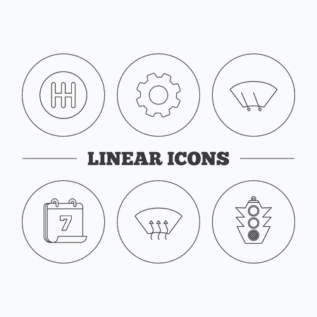 auto washing: Traffic lights, manual gearbox and wiper icons. Heated window, manual transmission linear signs. Washing window icon. Flat cogwheel and calendar symbols. Linear icons in circle buttons. Vector Illustration