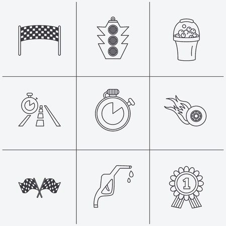 race winner: Race flags and speed icons. Winner medal, checkpoint and traffic lights linear signs. Timer and petrol station flat line icons. Linear icons on white background. Vector