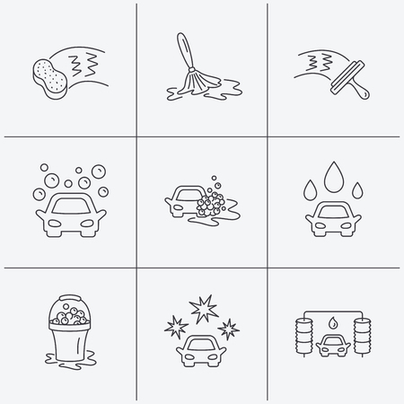 washing windows: Car wash icons. Automatic cleaning station linear signs. Washing windows, sponge and foam bucket flat line icons. Linear icons on white background. Vector