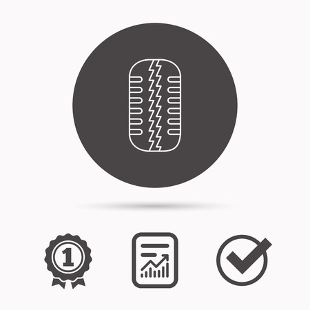 flaring: Tire tread icon. Car wheel sign. Report document, winner award and tick. Round circle button with icon. Vector