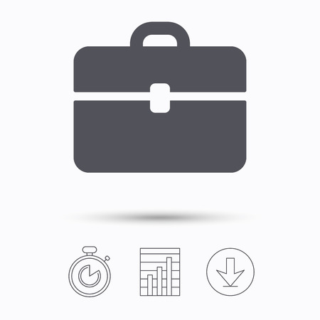 business case: Briefcase icon. Diplomat handbag symbol. Business case sign. Stopwatch, chart graph and download arrow. Linear icons on white background. Vector