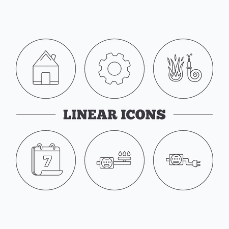 fire plug: Real estate, fire hose and gas counter icons. Electricity counter linear sign. Flat cogwheel and calendar symbols. Linear icons in circle buttons. Vector