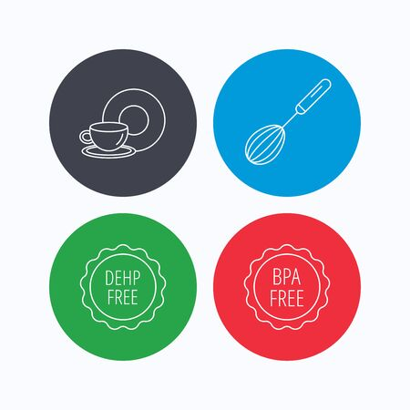 bpa: Food and drink, whisk and BPA free icons. DEHP free linear sign. Linear icons on colored buttons. Flat web symbols. Vector
