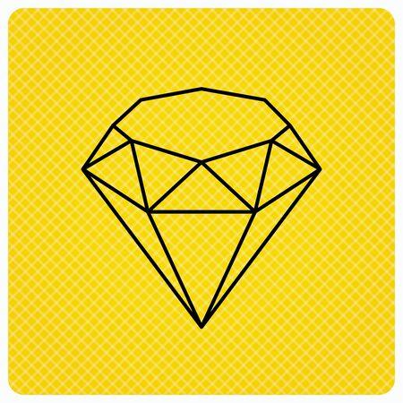 gemstone: Brilliant icon. Diamond gemstone sign. Linear icon on orange background. Vector Illustration