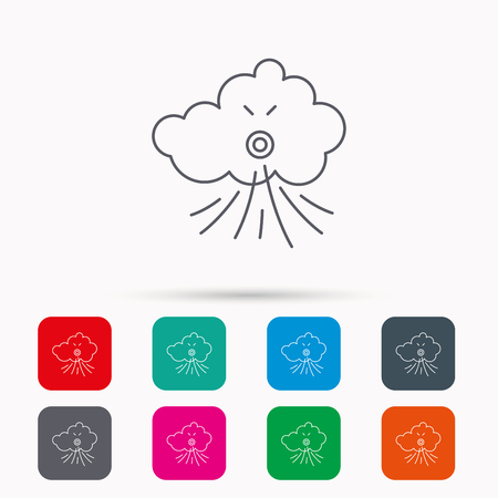 the tempest: Wind icon. Cloud with storm sign. Strong wind or tempest symbol. Linear icons in squares on white background. Flat web symbols. Vector Illustration