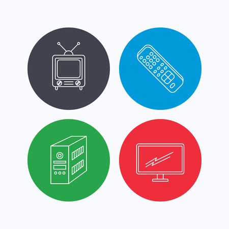 pc case: Retro TV, PC case and monitor icons. TV remote linear sign. Linear icons on colored buttons. Flat web symbols. Vector