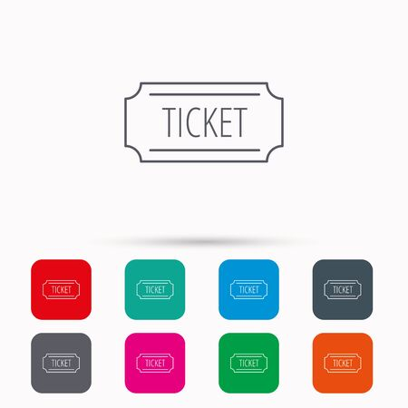 coupon sign: Ticket icon. Coupon sign. Linear icons in squares on white background. Flat web symbols. Vector