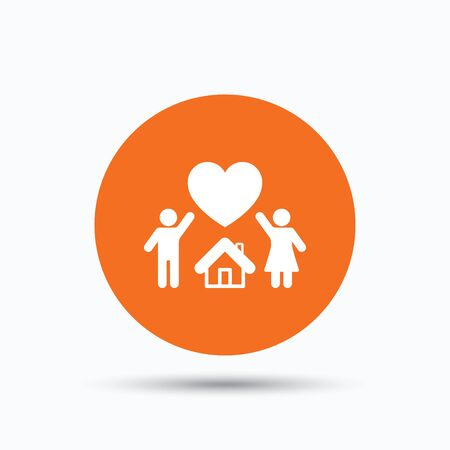 Family icon. Father, mother and child symbol. Orange circle button with flat web icon. Vector