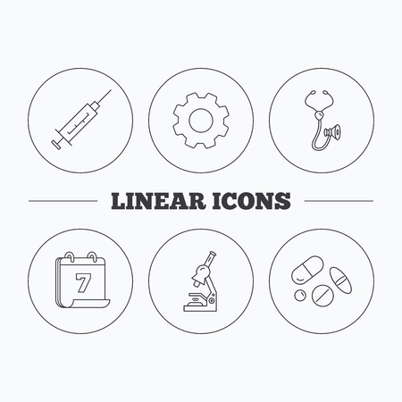 pathology pharmacy: Syringe, stethoscope and microscope icons. Medical pills linear sign. Flat cogwheel and calendar symbols. Linear icons in circle buttons. Vector