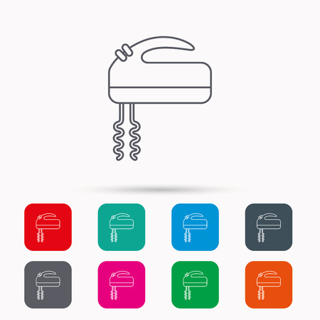 stir: Blender icon. Mixer sign. Linear icons in squares on white background. Flat web symbols. Vector Illustration