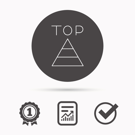 triangle button: Triangle icon. Top or best result sign. Success symbol. Report document, winner award and tick. Round circle button with icon. Vector