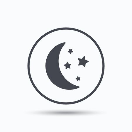 Moon And Stars Icon Night Sleep Symbol Circle Button With Flat