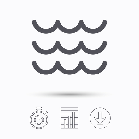 water stream: Wave icon. Water stream symbol. Stopwatch, chart graph and download arrow. Linear icons on white background. Vector