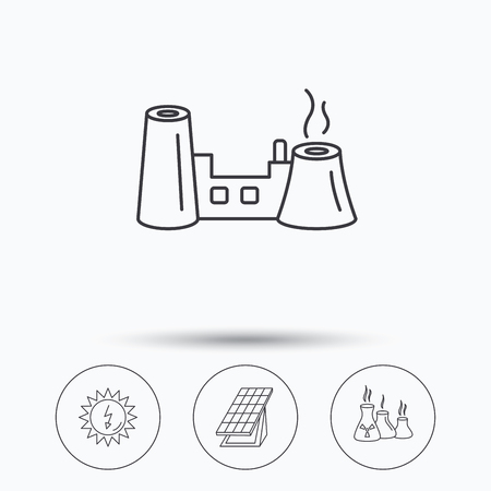 Solar collector energy, factory and industries icons. Solar energy linear signs. Linear icons in circle buttons. Flat web symbols. Vector Illustration