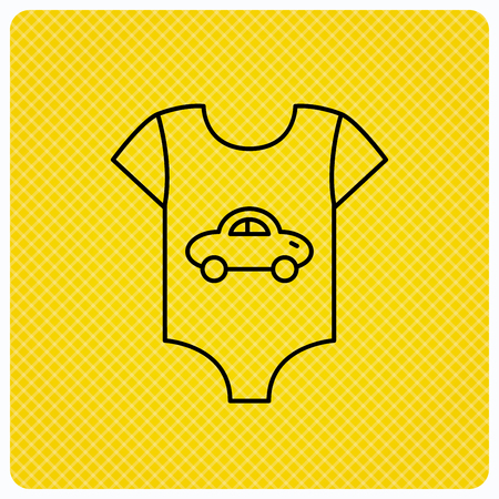 Newborn clothes icon. Baby shirt wear sign. Car symbol. Linear icon on orange background. Vector