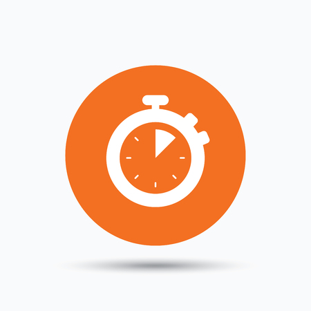 Stopwatch icon. Timer or clock device symbol. Orange circle button with flat web icon. Vector Illustration