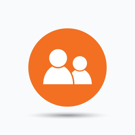 circle of friends: Friends icon. Group of people sign. Communication symbol. Orange circle button with flat web icon. Vector