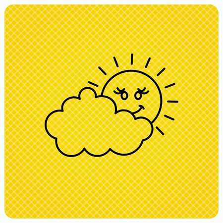 cloudy day: Cloudy day with sun icon. Overcast weather sign. Meteorology symbol. Linear icon on orange background. Vector