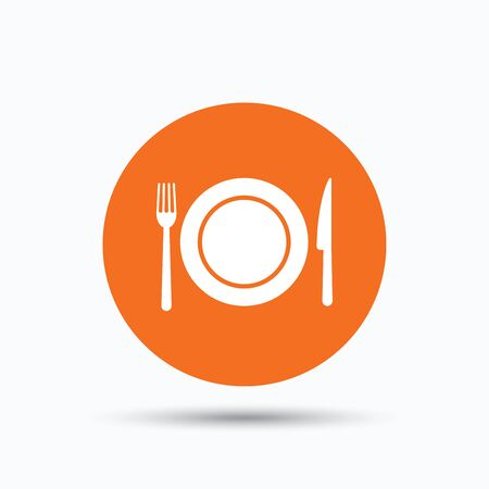 Dish, fork and knife icons. Cutlery symbol. Orange circle button with flat web icon. Vector